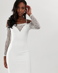 Read more about John zack tall square neck bodycon dress with lace sleeve in white