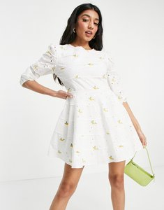 Read more about Just me broderie anglais mini dress with floral embroidery in off white