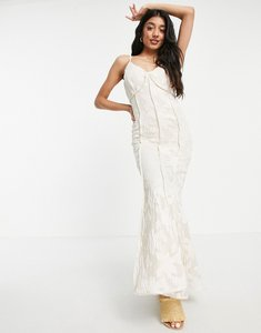 Read more about Just me satin jacquard maxi dress in cream-white