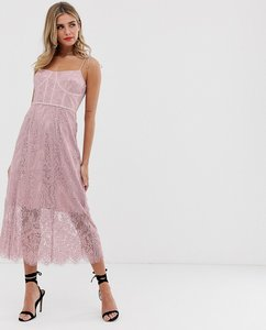 Read more about Keepsake sense lace midi dress with corset detail-pink