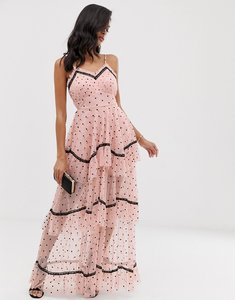 Read more about Lace beads tiered maxi dress in spot mesh with black contrast piping-pink