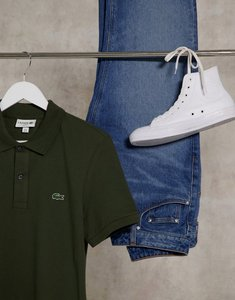 Read more about Lacoste slim fit polo in french pique with croc in khaki-green