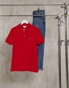 Read more about Lacoste slim fit polo in french pique with croc in red
