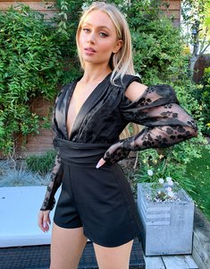 Read more about Lashes of london plunge front cold shoulder playsuit with organza balloon sleeve in black