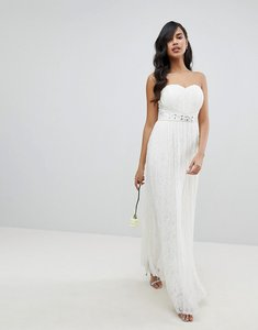 Read more about Lipsy bridal multiway allover lace maxi dress with sash belt-white