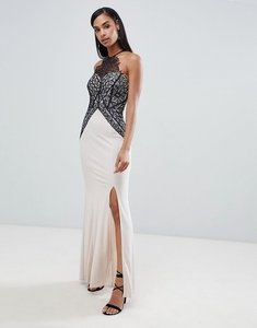 Read more about Lipsy high neck maxi dress with lace detail-multi