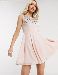 Read more about Lipsy skater dress with embellishment in pearl pink