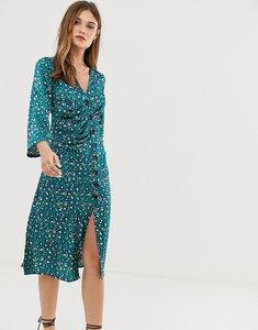 Read more about Liquorish button through midi dress in leopard-green