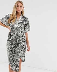 Read more about Liquorish drape front midi dress in animal mix print-multi