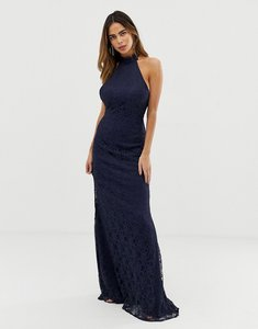 Read more about Liquorish halterneck maxi dress with lace overlay and trim detail-navy