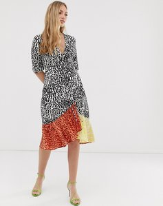 Read more about Liquorish midi wrap dress in mixed animal print-multi