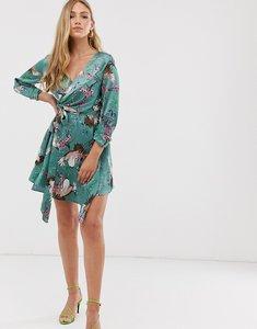 Read more about Liquorish wrap dress in heron print-green