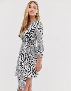 Read more about Liquorish wrap dress in mixed animal print-black