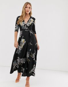 Read more about Liquorish wrap maxi dress in bird print-black