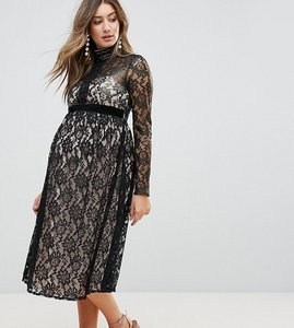 Read more about Little mistress maternity allover cutwork lace midi dress-black