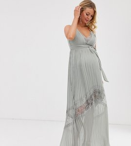 Read more about Little mistress maternity lace insert pleated maxi dress in waterlily-green