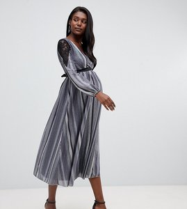 Read more about Little mistress maternity wrap front lace insert midi skater dress in metallic stripe-grey
