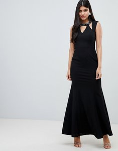 Read more about Little mistress maxi dress with embellished cut out neckline and scoop back-black