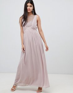 Read more about Little mistress maxi dress with pearl embellishment-pink