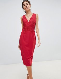 Read more about Little mistress midi bodycon dress with floral applique and lace back-red