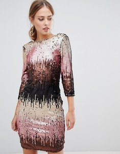 Read more about Little mistress ombre sequin bodycon dress with long sleeves and scoop back-multi