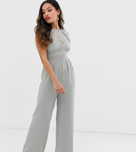 Read more about Little mistress petite lace top wide leg jumpsuit in waterlily-green
