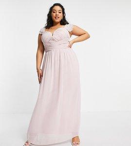 Read more about Little mistress plus embellished flutter sleeve twist waist maxi dress in blush-pink