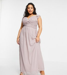 Read more about Little mistress plus embellished flutter sleeve twist waist maxi dress in oyster grey