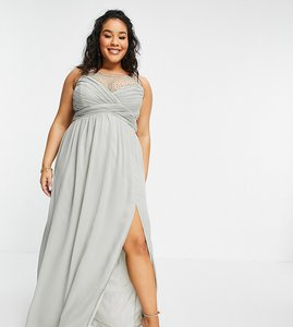 Read more about Little mistress plus embellished yolk pleated maxi dress in sage green