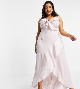 Read more about Little mistress plus ruffle wrap midaxi satin dress in blush-pink