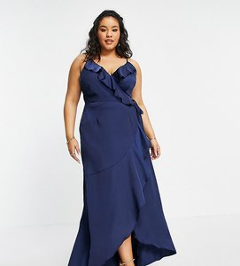 Read more about Little mistress plus ruffle wrap midaxi satin dress in navy