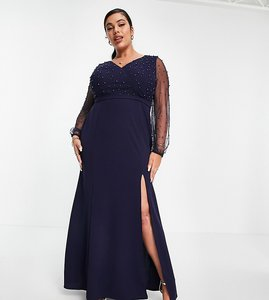 Read more about Little mistress plus sheer sleeve embellished maxi dress in navy