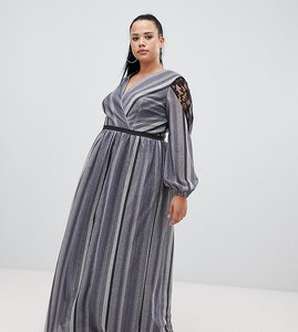 Read more about Little mistress plus wrap front lace insert maxi dress in metallic stripe-black