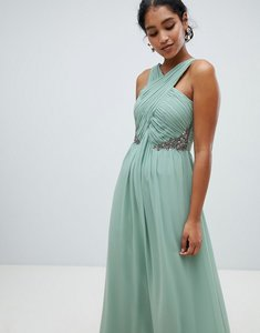 Read more about Little mistress ruched maxi dress with embellished detail-green