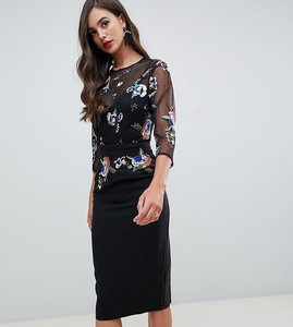 Read more about Little mistress tall embellished bodice pencil dress in black