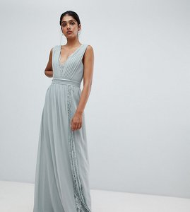 Read more about Little mistress tall maxi dress with lace inserts-green