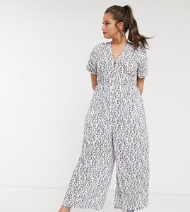 Read more about Lost ink plus wide leg jumpsuit with ruched sleeves in vintage floral-white