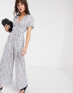 Read more about Lost ink wide leg jumpsuit with ruched sleeves in vintage floral-white