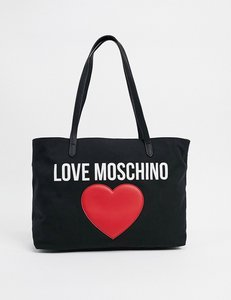 Read more about Love moschino canvas tote bag with large logo in black