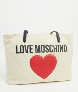 Read more about Love moschino canvas tote bag with large logo in ivory-cream