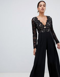 Read more about Love triangle all over cut work lace top wide leg split jumpsuit in black