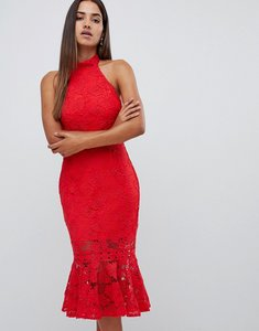 Read more about Love triangle all over high neck cut work lace high neck dress with scallop back in red