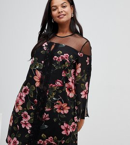 Read more about Lovedrobe floral dress with sheer panels-multi