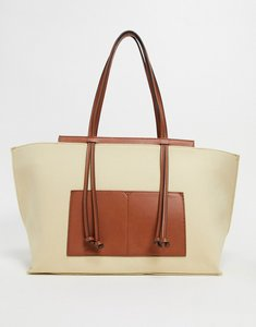 Read more about Mango canvas shopper with contrast panels in beige