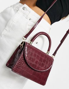 Read more about Mango faux croc handbag in wine-red