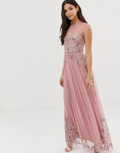 Read more about Maya allover premium embellished mesh cap sleeve maxi dress in vintage rose-pink