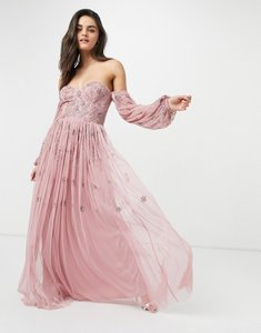 Read more about Maya bardot long sleeve tulle maxi dress with tonal delicate floral sequin in rose pink