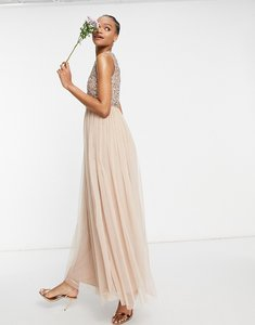 Read more about Maya bridesmaid 2 in 1 maxi tulle dress with tonal delicate sequin in taupe blush-pink