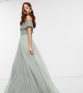 Read more about Maya bridesmaid bardot maxi tulle dress with tonal delicate sequins in sage green