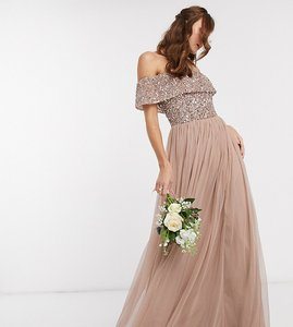 Read more about Maya bridesmaid bardot maxi tulle dress with tonal delicate sequins in taupe blush-brown